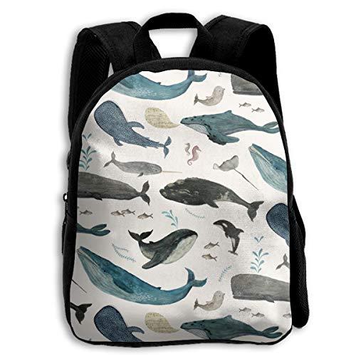 Bonita mochila para niños con canción de ballena, color azul, grande para niños y niñas, bolsa de viaje para la escuela