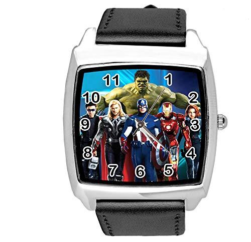 TAPORT® Unisex Uhr Analog Quarzwerk mit Leder Armband Marvel Universe Schwarz Quadrat
