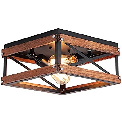 Rustic Farmhouse Flush Mount Light Fixture Two-Light Metal and Wood Square Flush Mount Ceiling Light for Hallway Bedroom Kitchen Entryway, Black