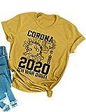 YNALIY Damen Corona T-Shirt 2020 Ich War Dabei COVID-19 Virus Survivor Lustige Sprüche Oberteile Rundhals Kurzarm Top Tee