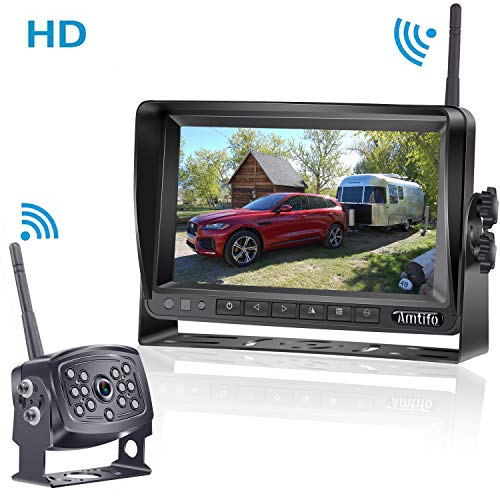 AMTIFO HD 960P Digital Wireless Backup Camera with 7 Inch Monitor for RVs,Trucks,Trailers,Motorhomes,5th Wheels High-Speed Observation Rear View System Stable Signal A7