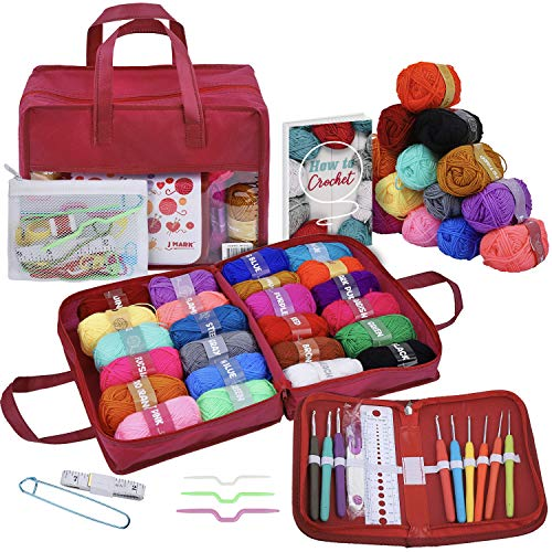 63 Piece Crochet Kit with Yarn Set– Premium Bundle Includes 9 Crochet Hooks, 24 Acrylic Crochet Yarn Balls, 6 Needles, eBook, Bags and more – Beginner and Professional Starter Pack for Adults and Kids