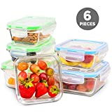 Elacra Glass Food Storage Containers [6-Pack, 28oz] - Glass Meal Prep Containers with Airtight and...