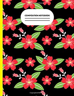 Composition Notebook: This black base with red preety flower with knops and green leaf make this design sparkling and usab...