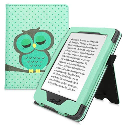 kwmobile Flip Cover kompatibel mit Tolino Page 2 - Hülle mit Handschlaufe Eule Schlaf Türkis Braun Mintgrün