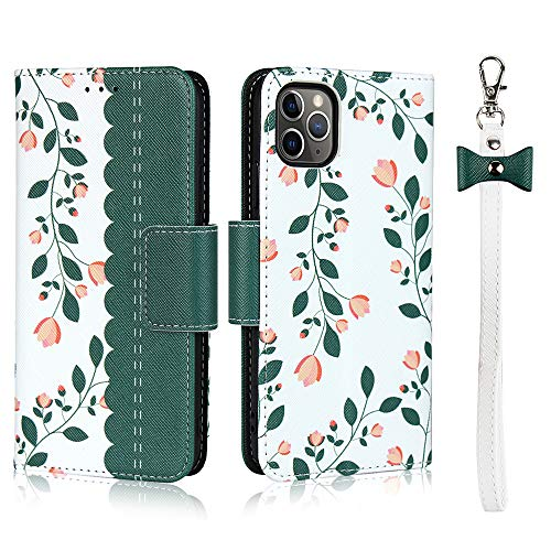 Coque pour iPhone 11 Pro(5.8 inch),Cuir Premium Fleur Flip Portefeuille, Fentes de Carte, Stand Fonction, Magnétique Flip PU+TPU Case Cover Etui avec Corde - Vert foncé