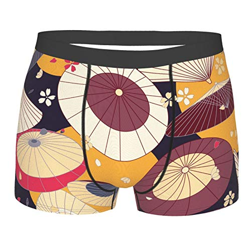 Japanese Traditional Umbrellas and Cherry Blossom Men's Underwear Boxer Briefs No Ride-Up Trunks S-XXL