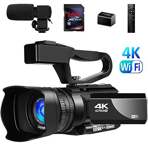 Video Camera 4K Camcorder Vlogging Camera for YouTube IR Night Vision 48MP 30FPS 3'...