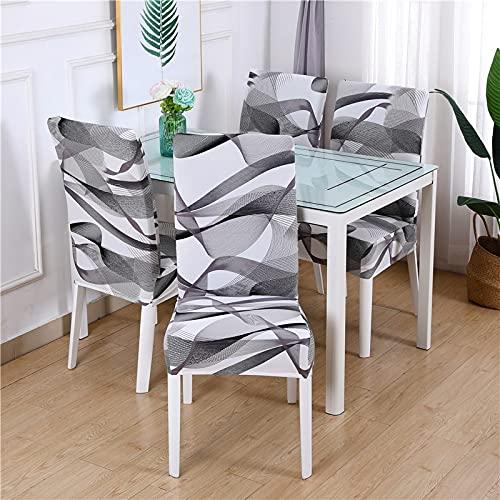 Funda para Silla geométrica Fundas para sillas elásticas de Comedor Fundas para sillas de Oficina elásticas de Spandex Estuche para sillas de Oficina antisuciedad 6 Piezas 22