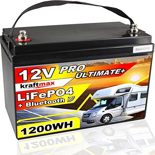kraftmax 12V / 100AH LiFePO4 Akku Batterie ersetzt 12 V / 100 AH Bleiakku - Hochleistungs- Akku der Neusten Generation inkl. Bluetooth