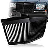 EPARTS Black Vertical Phantom Style ABS Front Bumper Hood Grill Grille Fit For 2005-2010 Chrysler 300 300C