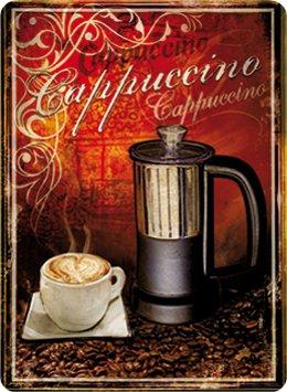 Cappuccino koffie blikken bord stabiel groot NIEUW 40x30cm S3460