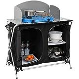 AMANKA Cocina de Camping con protección contra el Viento, 90 x 48 x 115 cm, 3 Compartimentos, Plegable, Armario de Cocina para Camping