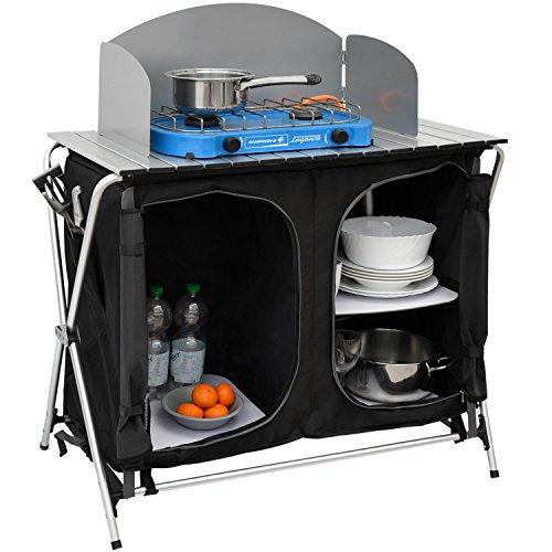 AMANKA Camping-Küche inkl Windschutz 90x48x115cm 3 Fächer Campingschrank faltbar Kocherschrank Zeltschrank Campingmöbel