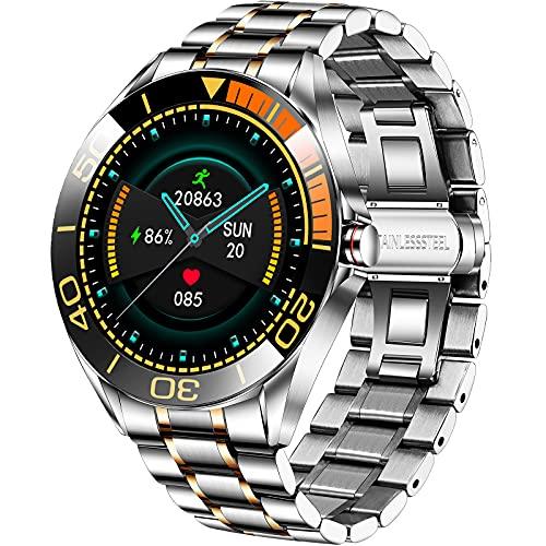 LIGE Smartwatch da Uomo da 1,3 Pollici, con Touch Screen, Cardiofrequenzimetro, Pressione Arteriosa, Orologio Fitness Impermeabile IP67, in Acciaio Inox, con Cronometro per Android e iOS