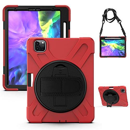 QYiD Case for iPad Pro 4th Generation 12.9 inch 2020, [Apple Pencil Pair and Charge Supported], Heavy Duty Shockproof Cover with Rotatable Kickstand/Strap, Belt for iPad Pro 12.9' 2020/2018, Red
