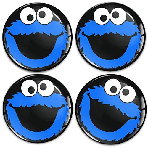 Biomar Labs 4 x 60mm Universal Adhesivo Pegatinas para Tapas de Rueda de Centro Tapacubos para Coche Negro Azul Elmo Cookie Monster A 5860