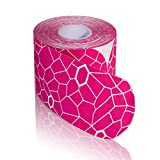 TheraBand Kinesiology Tape, Waterproof Physio Tape for Pain Relief, Muscle & Joint Support, Standard Roll with XactStretch Application Indicators, 2' X 10' Strips, 20 Precut Strips, Pink/White