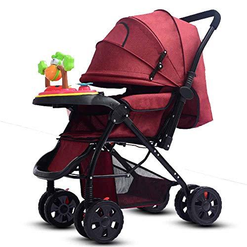 MYMGG Multifunktionaler Kinderwagen mit Musikplatte Babywagen mit klappbarer Markise Buggy Zwei-Wege-Putter Kinderkraft,Red