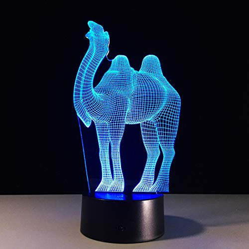 KangYD 3D Night Light Vision Lamp Animal Camel, LED Illusion Lamp, D - Remote Crack White(16 Color), Gift for Friend, Colorful Change, USB Powered, Home Decor, Acrylic Panel