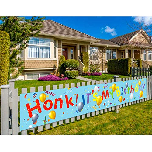 Honk! It's My Birthday Yard Sign with 4 Metal Grommets, Waterproof Birthday Quarantine Banner for Girl Boy Kids Outdoor Indoor, Large Fabric Hanging Flags Backdrop Decorations, 9.8 X 1.6 Ft