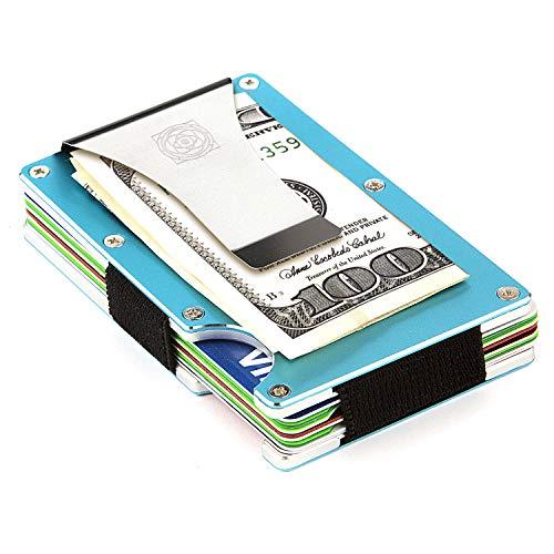 Carbon Fiber Wallet - Credit Card Holder with Money Clip - Aluminum RFID Protection - Cool Slim Minimalist Design - Best for Men - Mens Accessories (Aluminum Blue)