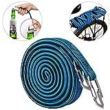 ASEOK Cuerda Elástica para Equipaje , Resistente y Elástica para Bicicleta con Gancho de Acero al Carbono, Apto para Bicicletas, Coches Eléctricos, (2M), azul