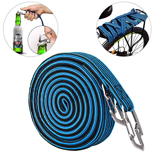 ASEOK Cuerda Elástica para Equipaje , Resistente y Elástica para Bicicleta con Gancho de Acero al Carbono, Apto para Bicicletas, Coches Eléctricos, (4M), azul