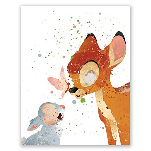 Bambi Art Print – Nursery Wall Art Poster – Kids Room Decor – Baby Shower Party Movie Picture – Birthday (11x14)
