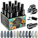 Smalto Semipermanente, Kastiny 9PCS Gel Unghie UV LED con Base e Top Coat, Kit Manicure Smalti per Unghie Classico Blu Grigio