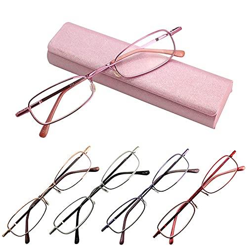ハードケース 携帯 老眼鏡 全額返金保証 おしゃれ 眼鏡 (度数:+2.5, ピンク)