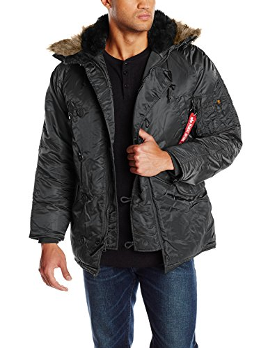 Alpha Industries Men's N-3B Parka Jacket, Black, Small