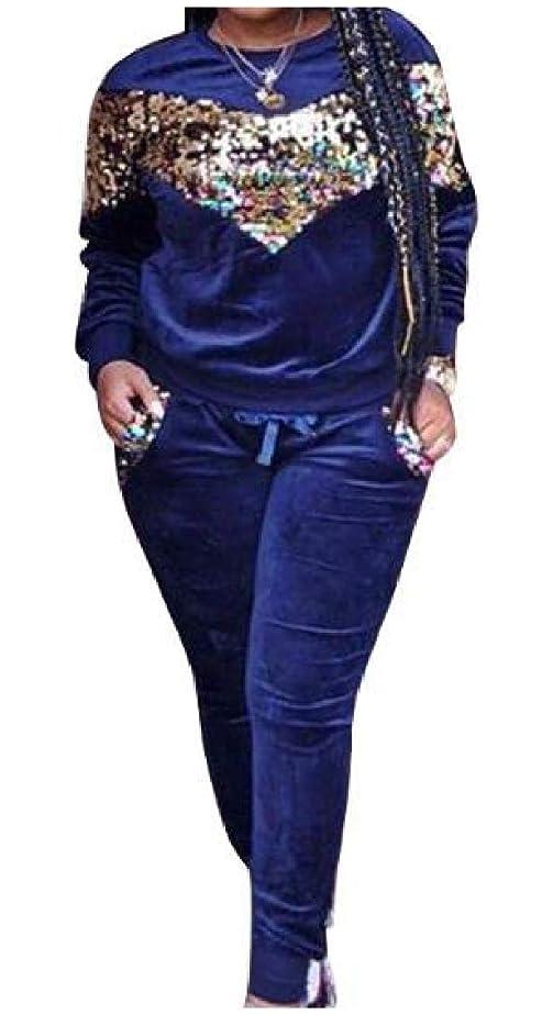 天窓地上の構成員GodeyesW 女性のカジュアルスプライスのスパンコールグリッターベルベットトップスのアウトウェアとズボンの衣装