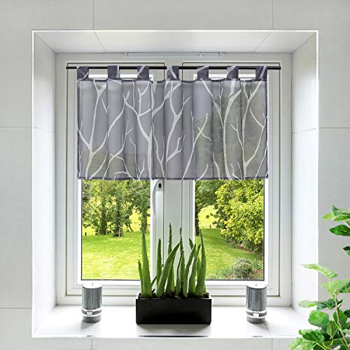 Yujiao Mao Voile Sheer Window Valance Branch Pattern Half Window Curtain Tab Top Cafe Curtain for Kitchen Bathroom Living Room,1pc (Grey,W35 x L23 inch)