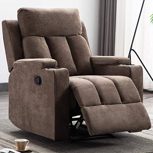ANJ Fabric Recliner Chair with 2 Cup Holders Contemporary Theater Seating Padded Single Sofa for Living Room (Tan)