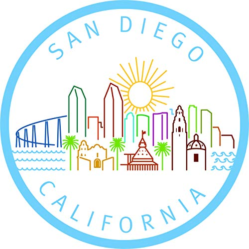 "San Diego California West Coast Travel Landmarks Road Trip Getaway Stamps Logo Cartoon Vinyl Sticker (2"" Tall, Simple)"