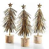 Logbuch-Verlag 3 árboles de Navidad de metal de 30 cm – Decoración de Navidad vintage para colocar de pie, color dorado antiguo sobre base de madera