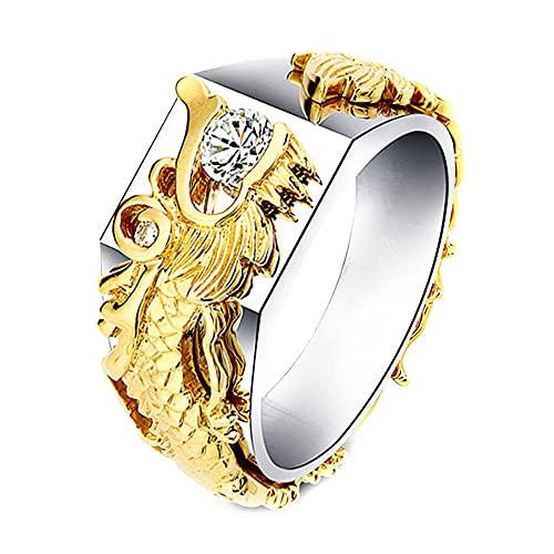 Devil's Tail Arrows Anillo de dragón Anillos de cristal Diseño de dragón gótico Fiesta de aniversario Anillos de declaración Joyería de moda creativa para mujeres Hombres Plata chapada en oro (7)