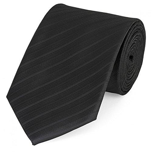 Fabio Farini – Herren Krawatte elegant gestreift für Hochzeit, Konfirmation, Ball in 6 cm oder 8 cm zur Auswahl schwarz mit dezent streifen strukturiert Klassisch (8cm)