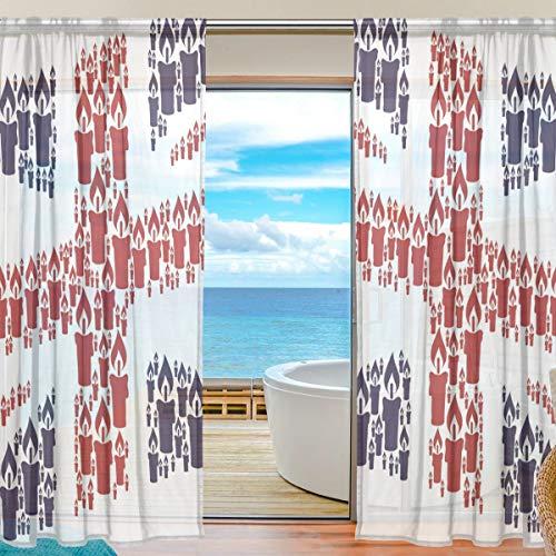 Emoya Vorhang mit Union-Jack-Flagge, Kerzen-Stil, Fensterbehandlung, Voile-Vorhang, Stoff, für Zuhause,...