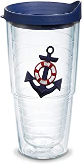 Tervis 1092317 Anchor - Blue Insulated Tumbler with Emblem and Navy Lid, 24oz, Clear