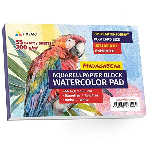 Tritart Aquarellpapier A6 300g | 55 Seiten Weiß | Din A6 Aquarellblock | Aquerell Papierblock zum Malen | Aquarellmalblock klein | Aquarell Postkartenblock | Aquarell Karten