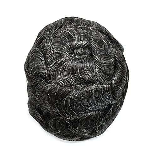 MRSGG Adjustable Size French Lace Front Mens Toupee Fine Mono Hairpiece Skin Natural Hairline Hair System for Hair Loss 1B30