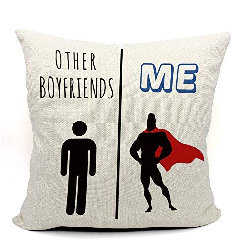 Mancheng zi My Boyfriend Vs Other Boyfriends Funny Throw Pillow Case, Long Distance Relationship Gifts, Funny Boyfriend Gift, Boyfriend Birthday Gift,18 x 18 Inch Linen Cushion Cover
