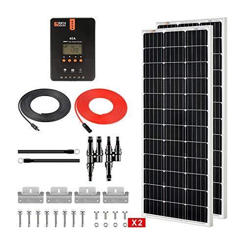RICH SOLAR 200 Watt 12 Volt Monocrystalline Solar Starter 40A MPPT Charge Controller/Mounting Z Brackets/Tray Cable/Adaptor Kit(MPPT-40A)