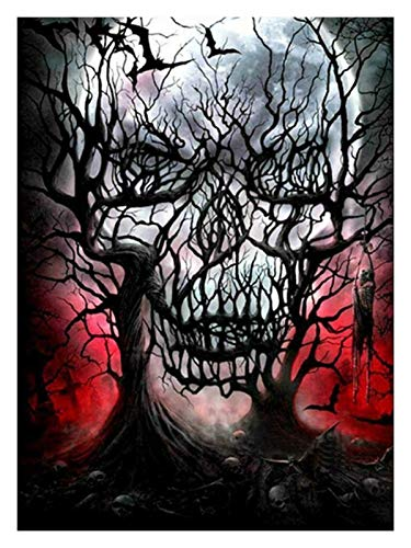 HENA DIY 5D Diamond Painting Kits for Adults, Full Drill Painting Rhinestone Embroidery Cross Stitch Halloween Decorations, Skeleton Beauty (Color : Big Tree Skeleton, Size : 45X60cm)