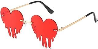 Melting Heart Sunglasses for Men/Women Rimless Irregular Party Unique Sun Glasses Metal Prom...