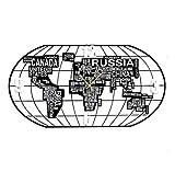AIOJY Mapa del Mundo Reloj De Pared Reloj De Cuarzo Vintage Reloj De Pared Negro