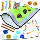 Youngever 15 Cat Toys Kitten Toys Assortments, Cat Crinkle Play Mat, Cat Teaser Wand Interactive Toys Cat Springs, Crinkle Balls for Cat, Puppy, Kitty, Kitten