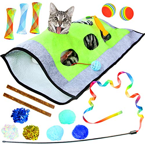 Youngever 15 Cat Toys Kitten Toys Assortments, Cat Play Mat, Cat Teaser Wand Interactive Toys Cat Springs, Crinkle Balls for Cat, Puppy, Kitty, Kitten